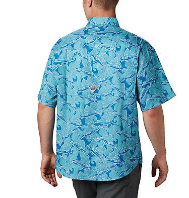 Men's PFG Super Tamiami™ Short Sleeve Shirt Super Tamiami™ SS Shirt | 014 | L, Dark Pool Fish Wave Print, back