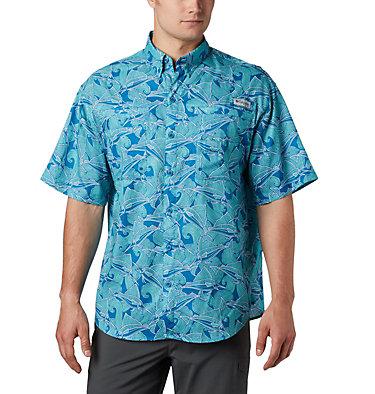 Men's PFG Super Tamiami™ Short Sleeve Shirt Super Tamiami™ SS Shirt | 014 | L, Dark Pool Fish Wave Print, front