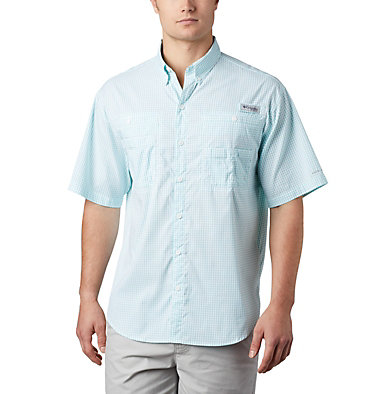Men's PFG Super Tamiami™ Short Sleeve Shirt Super Tamiami™ SS Shirt | 012 | S, Bright Aqua Gingham, front