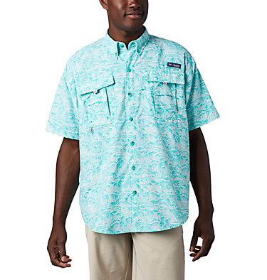 Men's PFG Super Bahama™ Short Sleeve Shirt Super Bahama™ SS Shirt | 342 | XL, Bright Aqua Tuna Time Print, front