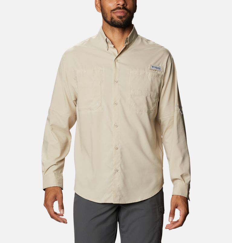 Tamiami™ II LS Shirt | 162 | L Men's PFG Tamiami™ II Long Sleeve Shirt, Fossil, Realtree Edge, front
