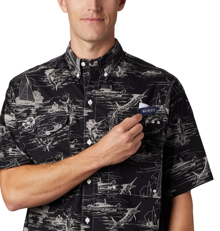 Super Bonehead Classic™ SS Shirt | 013 | XL Men's PFG Super Bonehead Classic™ Short Sleeve Shirt, Black Angler Toile Print, a3