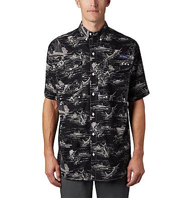 Men's PFG Super Bonehead Classic™ Short Sleeve Shirt Super Bonehead Classic™ SS Shirt | 514 | XXL, Black Angler Toile Print, front