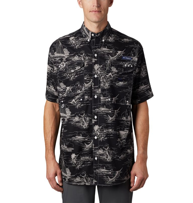 Super Bonehead Classic™ SS Shirt | 013 | XL Men's PFG Super Bonehead Classic™ Short Sleeve Shirt, Black Angler Toile Print, front