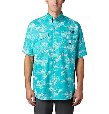 Men's PFG Super Bonehead Classic™ Short Sleeve Shirt Super Bonehead Classic™ SS Shirt | 514 | XXL, Bright Aqua Angler Toile Print, front