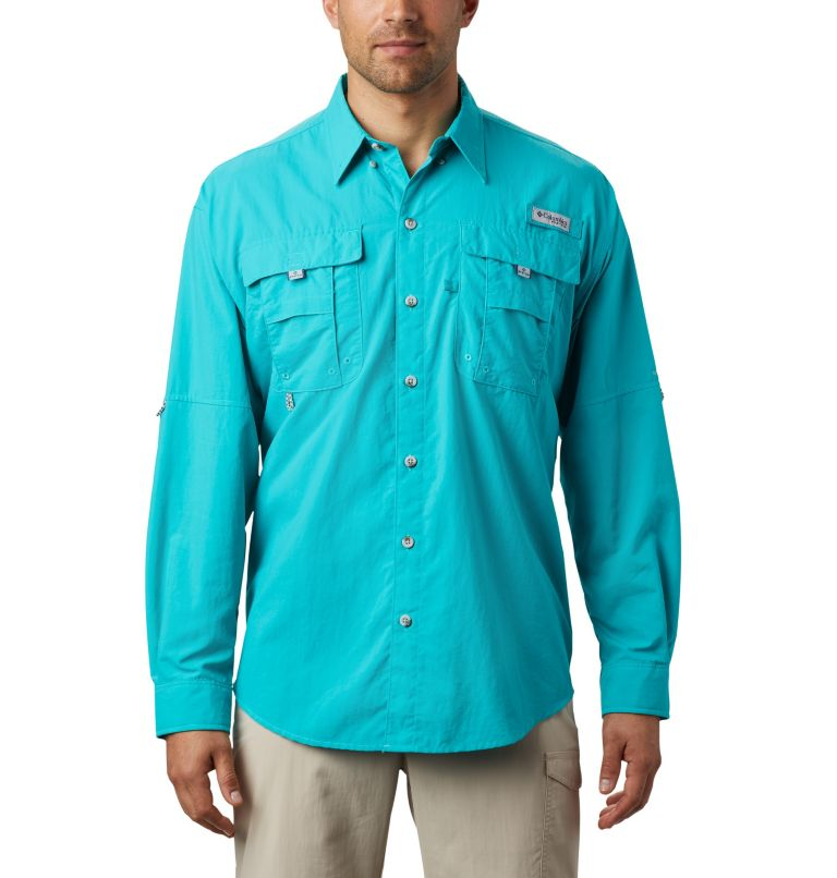 Bahama™ II L/S Shirt | 456 | 5X Men's PFG Bahama™ II Long Sleeve Shirt - Big, Bright Aqua, front