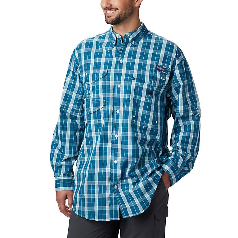 4X Teal Plaid Columbia Mens Super Bonehead Classic Long Sleeve Big Shirt