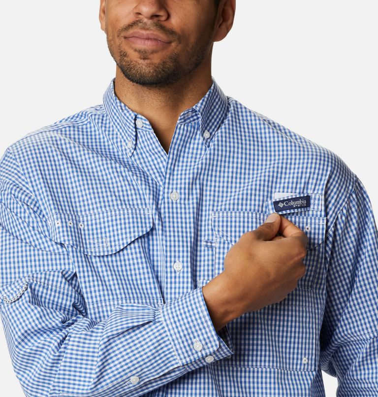 Super Bonehead Classic™ LS Shirt | 507 | 4X Men's PFG Super Bonehead Classic™ Long Sleeve Shirt - Big, Vivid Blue Gingham, a2