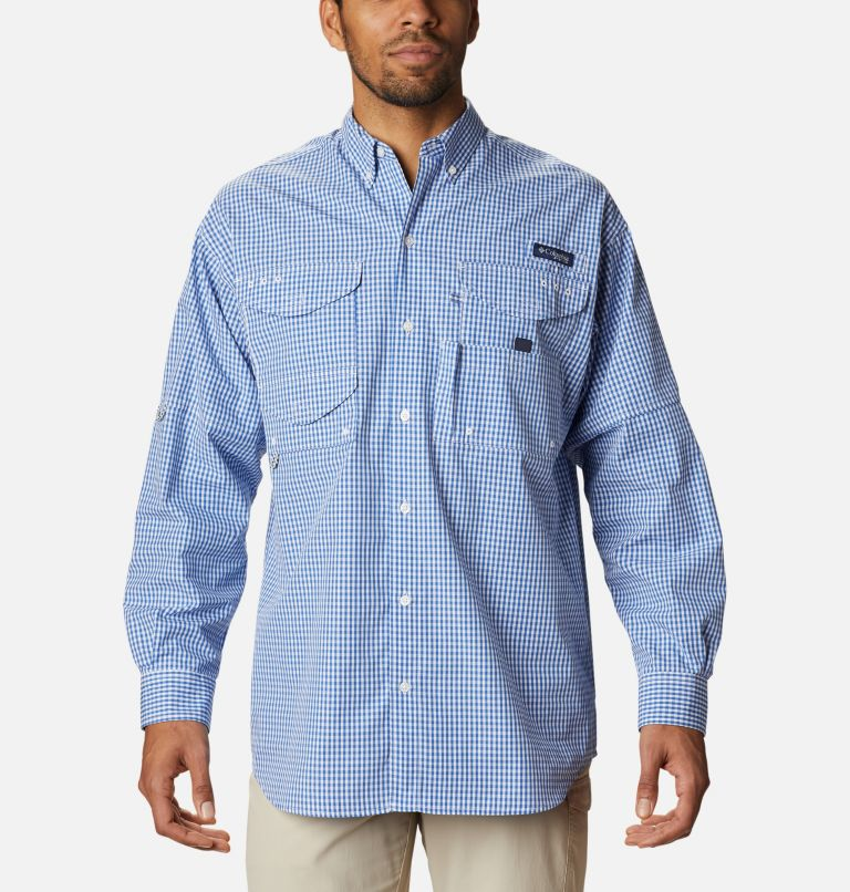 Super Bonehead Classic™ LS Shirt | 507 | 4X Men's PFG Super Bonehead Classic™ Long Sleeve Shirt - Big, Vivid Blue Gingham, front