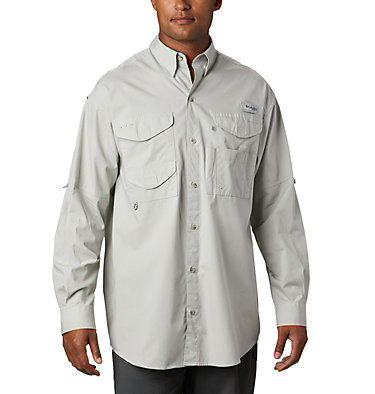 Men's PFG Bonehead™ Long Sleeve Shirt - Tall Bonehead™ LS Shirt   019   LT, Cool Grey, front