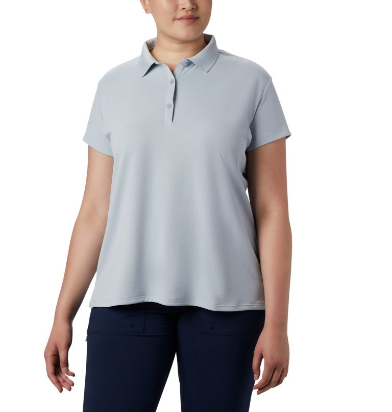 Innisfree™ SS Polo | 031 | 3X Women's PFG Innisfree™ Short Sleeve Polo Shirt - Plus Size, Cirrus Grey, front