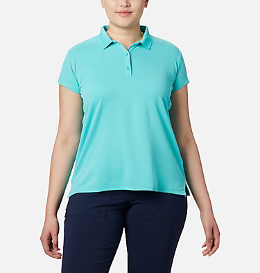 Women's PFG Innisfree™ Short Sleeve Polo Shirt - Plus Size Innisfree™ SS Polo | 383 | 1X, Dolphin, front