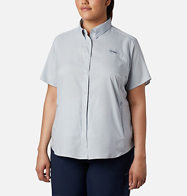 Women's PFG Tamiami™ II Short Sleeve Shirt - Plus Size Womens Tamiami™ II SS Shirt | 658 | 1X, Cirrus Grey, front