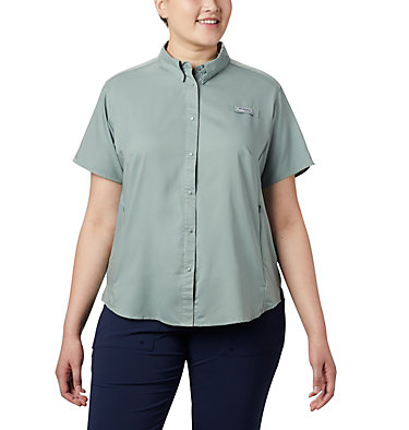 Women's PFG Tamiami™ II Short Sleeve Shirt - Plus Size Womens Tamiami™ II SS Shirt | 658 | 1X, Light Lichen, front