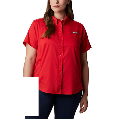 Women's PFG Tamiami™ II Short Sleeve Shirt - Plus Size Womens Tamiami™ II SS Shirt | 658 | 1X, Red Lily, front