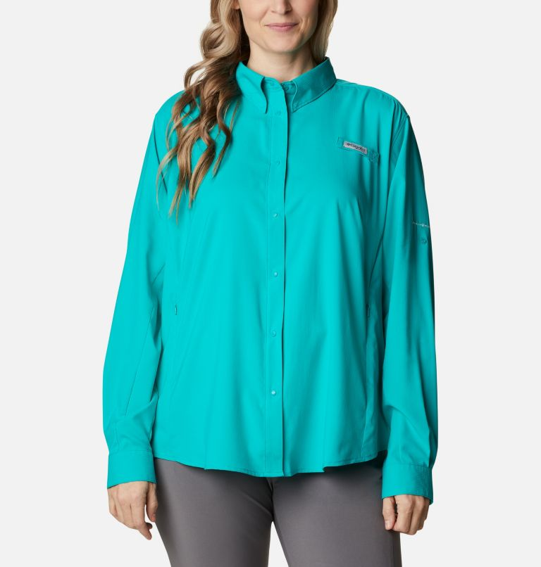 Womens Tamiami™ II LS Shirt | 360 | 1X Women's PFG Tamiami™ II Long Sleeve Shirt - Plus Size, Tropic Water, front