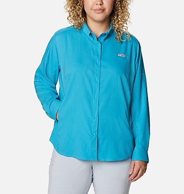 Women's PFG Tamiami™ II Long Sleeve Shirt - Plus Size Womens Tamiami™ II LS Shirt   658   1X, Clear Water, front