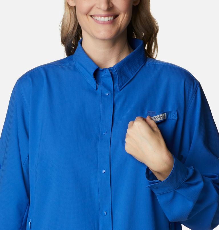 Womens Tamiami™ II LS Shirt | 487 | 3X Women's PFG Tamiami™ II Long Sleeve Shirt - Plus Size, Vivid Blue, a2