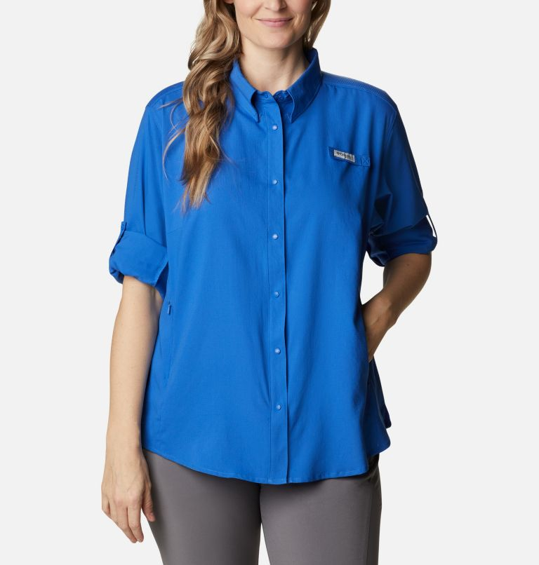 Womens Tamiami™ II LS Shirt | 487 | 3X Women's PFG Tamiami™ II Long Sleeve Shirt - Plus Size, Vivid Blue, a4