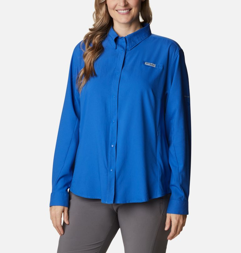 Womens Tamiami™ II LS Shirt | 487 | 3X Women's PFG Tamiami™ II Long Sleeve Shirt - Plus Size, Vivid Blue, front