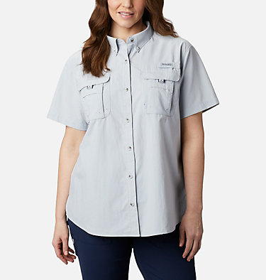 Women's PFG Bahama™ Short Sleeve - Plus Size Womens Bahama™ SS | 424 | 1X, Cirrus Grey, front
