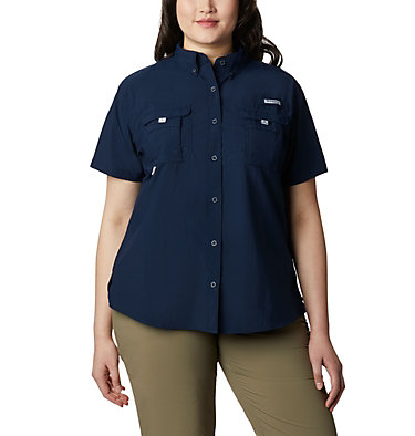 Women's PFG Bahama™ Short Sleeve - Plus Size Womens Bahama™ SS | 424 | 1X, Collegiate Navy, front
