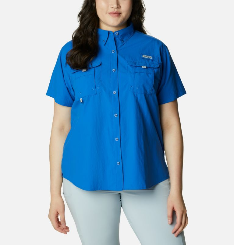 Womens Bahama™ SS | 487 | 2X Women's PFG Bahama™ Short Sleeve - Plus Size, Vivid Blue, front