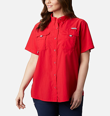 Women's PFG Bahama™ Short Sleeve - Plus Size Womens Bahama™ SS | 424 | 1X, Red Lily, front