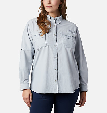 Women's PFG Bahama™ Long Sleeve - Plus Size Womens Bahama™ LS | 475 | 3X, Cirrus Grey, front