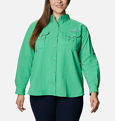Women's PFG Bahama™ Long Sleeve - Plus Size Womens Bahama™ LS | 475 | 3X, Emerald City, front