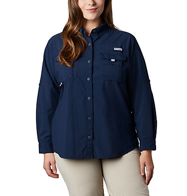 Women's PFG Bahama™ Long Sleeve - Plus Size Womens Bahama™ LS | 475 | 3X, Collegiate Navy, front