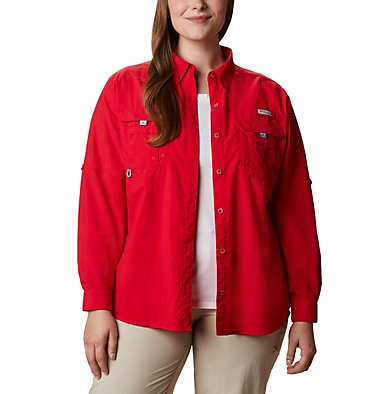 Women's PFG Bahama™ Long Sleeve - Plus Size Womens Bahama™ LS | 475 | 3X, Red Lily, front
