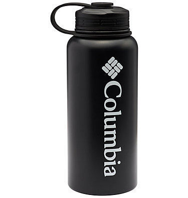 Double-Wall Vacuum Bottle with Screw On Top 32oz Vacuum Double Wall Bottle 32oz   431   O/S, Black, front
