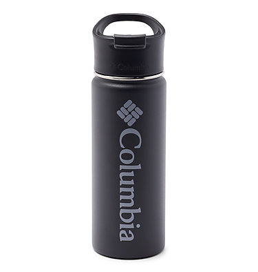 Double-Wall Vacuum Bottle with Sip-Thru Top - 18oz Vacuum Double Wall Bottle 18oz   010   O/S, Black, front