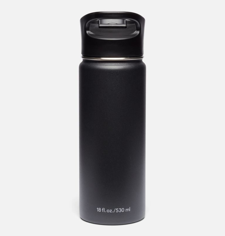 Double-Wall Vacuum Bottle with Sip-Thru Top - 18oz Double-Wall Vacuum Bottle with Sip-Thru Top - 18oz, Black, back