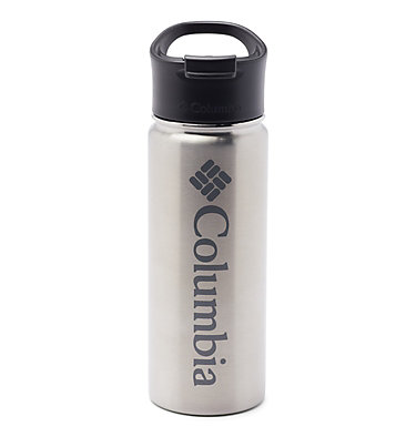 Double-Wall Vacuum Bottle with Sip-Thru Top - 18oz Vacuum Double Wall Bottle 18oz   010   O/S, Stainless, front