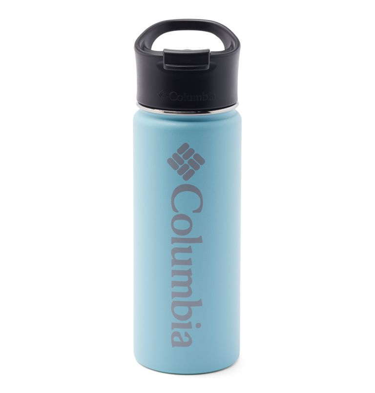 Vacuum Double Wall Bottle 18oz | 550 | O/S Double-Wall Vacuum Bottle with Sip-Thru Top - 18oz, Clear Blue, front