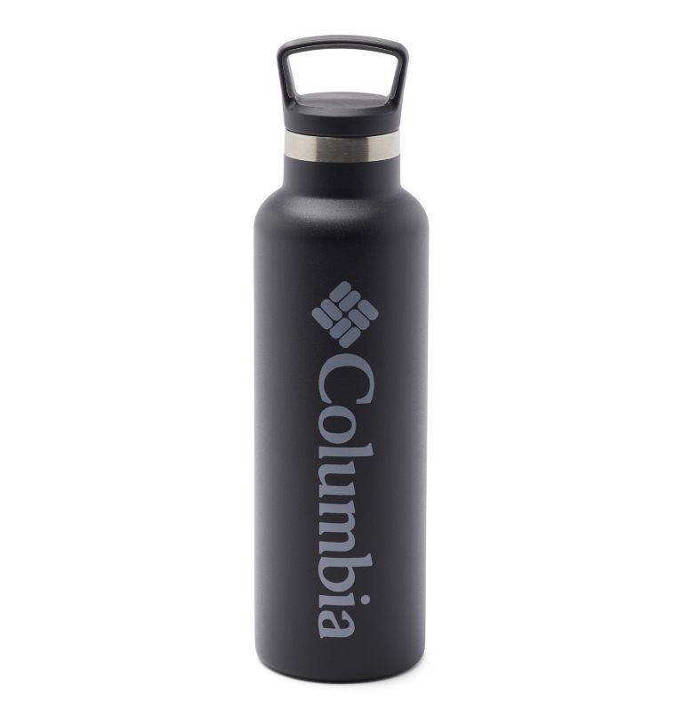 Double-Wall Vacuum Bottle with Screw-On Top - 21oz   010   O/S Double-Wall Vacuum Bottle with Screw-On Top - 21oz, Black, front