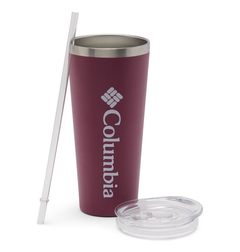 21 oz. Double Wall Tumbler with Straw | 550 | O/S Stainless Steel Double Wall Vacuum Tumbler with Straw 21oz, Wine Berry, a1