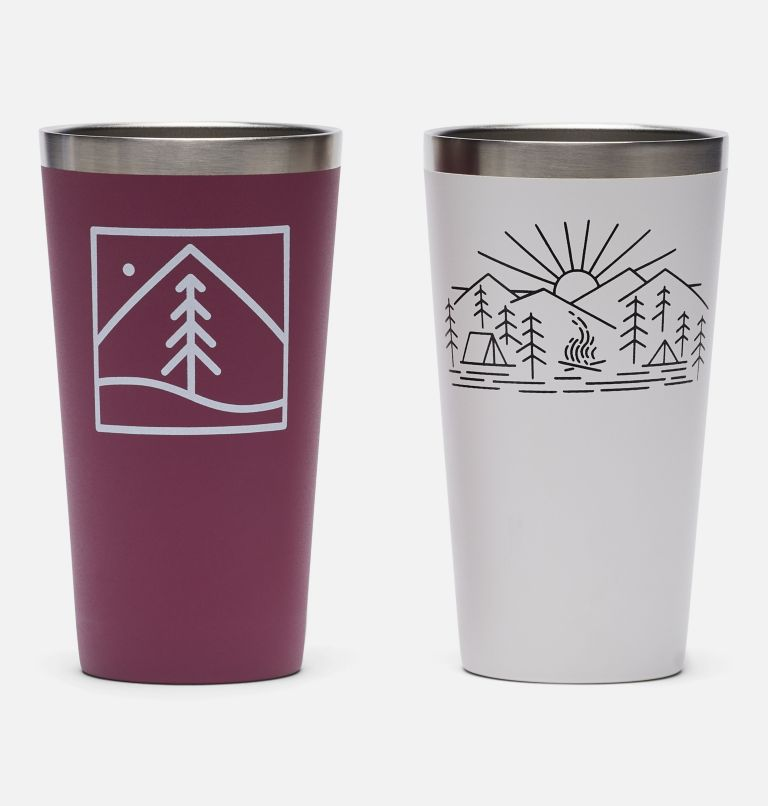 Double Wall Vacuum Pint Cup - 17 oz, 2 Pack | 550 | O/S Double Wall Vacuum Pint Cup - 17 oz, 2 Pack, White, Wineberry, front