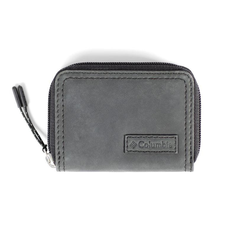 Zip Around wallet w/ patch | 001 | O/S Men's Zip Around Wallet with Patch Logo, Black, front