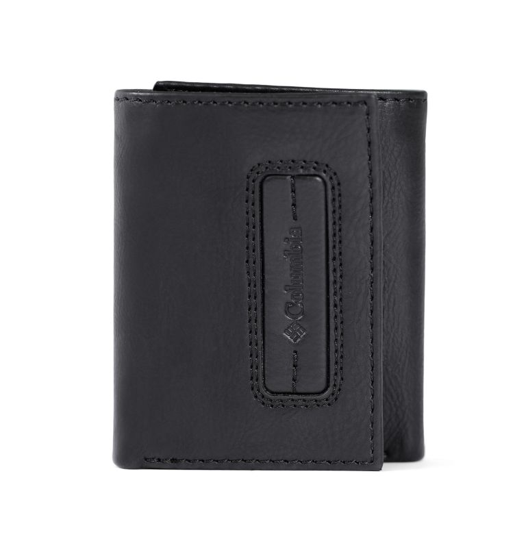 Trifold Wallet With Phone Wallet Adhesiv | 001 | O/S Men's Trifold with Adhesive Phone Wallet, Black, front