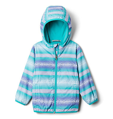 Toddler Mini Pixel Grabber™ II Wind Jacket Mini Pixel Grabber™ II Wind Jacket | 378 | 2T, Bright Aqua Bubble Stripes, front