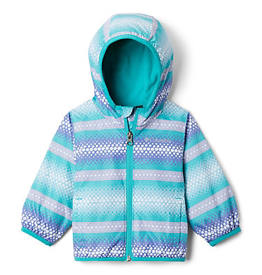 Infant Mini Pixel Grabber™ II Wind Jacket Mini Pixel Grabber™ II Wind Jacket | 454 | 0/3, Bright Aqua Bubble Stripes, front