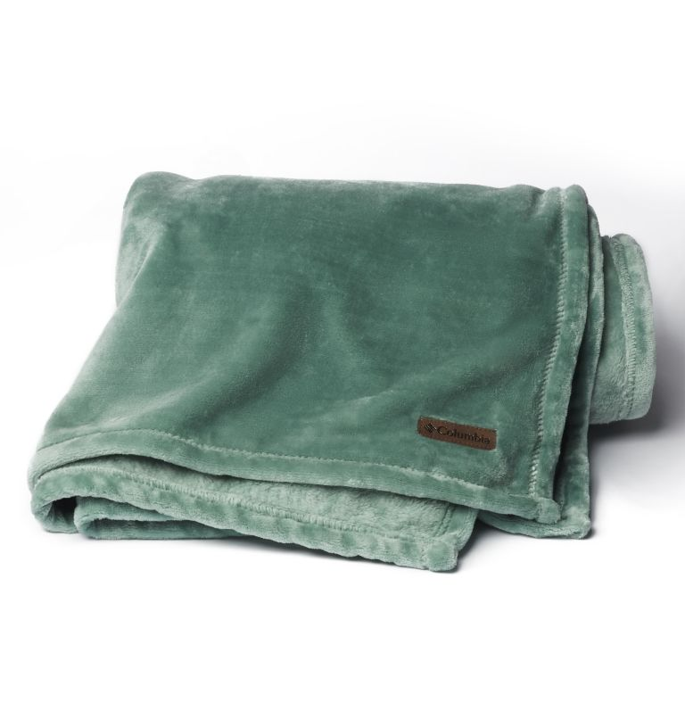 Columbia Plush Throw | 351 | NONE Plush Throw Blanket, Dusty Green, front