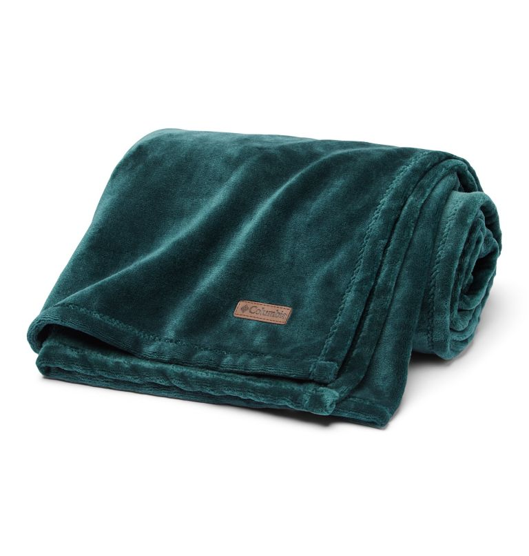 Columbia Plush Throw | 398 | NONE Plush Throw Blanket, Dark Ivy, front
