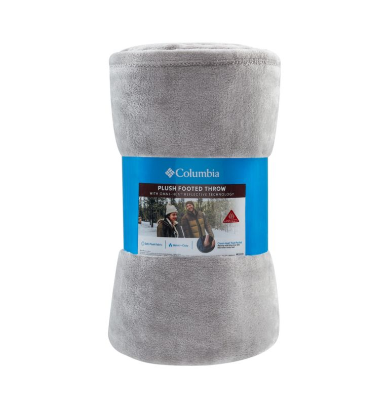 Plush Footed Throw   039   O/S Plush Footed Throw Blanket, Columbia Grey, a3