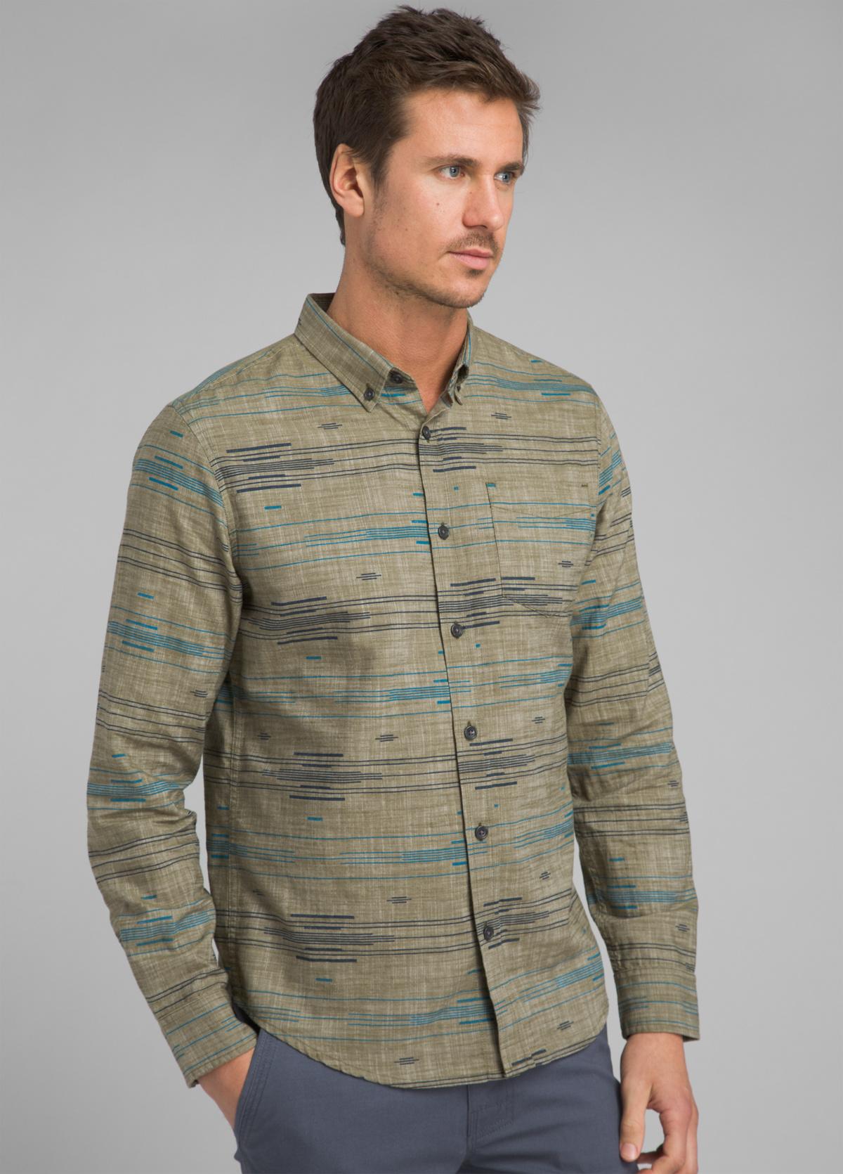 prAna Mens Broderick Long Sleeve Slim Shirt