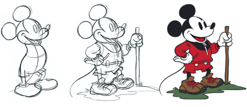 Drawings of Mickey Mouse from sketch to final color product.