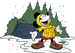 A drawing of Mickey Mouse enjoying the rain outdoors.